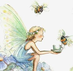 Bumble bee tea.  I do not know who the artist is, but oh, he or she has painted a beautiful picture