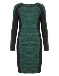 Green Mix Space-Dye Colour Block Bodycon Shift Dress