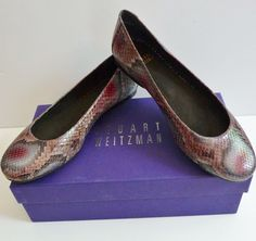 "Stuart Weitzman NIB ""Bambina"" Brown Wine Gray Snake Print Flat 8M Nordstrom $335 #StuartWeitzman #BalletFlats #Any"