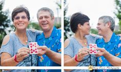 10 Year Anniversary portrait photographer at Arbuckle Acres Park in Brownsburg Indiana | Couple pose with ten of hearts card | (c) Brittany Erwin Photography
