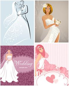 Very beautiful bride and Wedding card vector