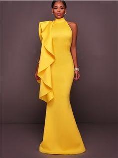 Falbala Halter Backless Women's Maxi Dress - m.tbdress.com