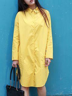 #AdoreWe #StyleWe Dresses - Anne Chen Yellow Casual Cotton Shirt Dress - AdoreWe.net