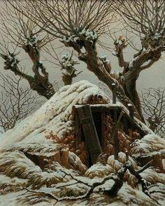 Friedrich / Snow-covered hut / 1827 #Caspar #David #Friedrich #weewado #caspar #david #friedrich #german