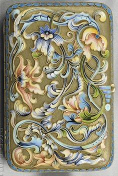 Art Nouveau Silver-gilt and Enamel Box, Russia. Polychrome enamel floral and foliate motifs.