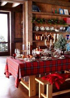 Tartan Christmas, Plaid Christmas, Country Christmas, All Things Christmas, Winter Christmas, Christmas Home, Cabin Christmas Decor, Xmas, Christmas Tablescapes