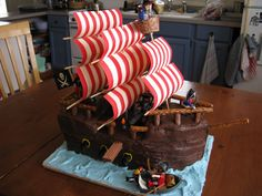 Yes! We eat it. The pirate ship cake is exciting to make, but devouring it is part of the process.