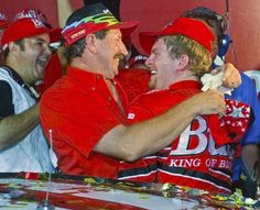 Dale Earnhardt Jr. being congratulated by Dad, Dale,Sr