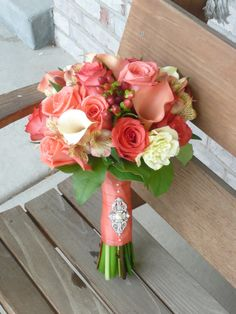 coral, pink, ivory bouquet