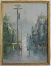 Space Needles Impressionist Vintage Moderne Oil Painting Cityscape Rain Kim-Y-C