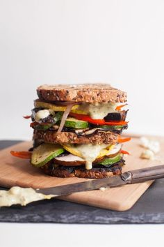 Grilled Veggie Sandwich with Pesto-Feta Mayo