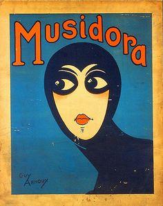De Franse actrice Musidora als Irma Vep in 'Les Vampires' Regie: Louis Feuillade. Retro Poster, Poster Ads, Vintage Posters, Art And Illustration, Illustrations Posters, Vampires, Etiquette Vintage, Kunst Poster, Art Graphique