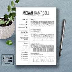 professional resume template cv template cover letter ms word mac pc creative modern creative teacher resume instant download megan