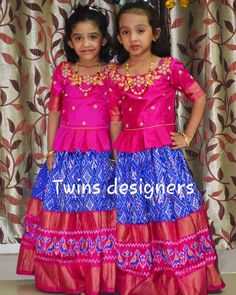 Image may contain: 2 people, people standing Kids Dress Wear, Dresses Kids Girl, Cute Dresses, Kids Outfits, Kids Wear, Kids Blouse Designs, Hand Work Blouse Design, Kids Indian Wear, Kids Lehenga