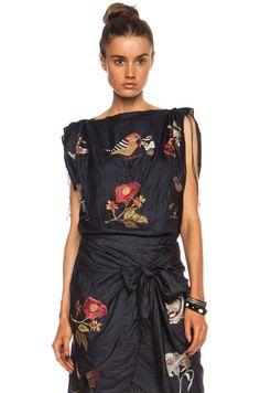 Isabel Marant Ivo Foulard Silk Top in Black | FWRD