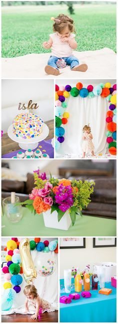 "Seriously, ""confetti"" may as well just be called ""rainbow paper fun"". Throw your baby an epicly fun DIY first birthday party at home with a colorful confetti-filled party theme. With pop-up paper decorations, a sprinkle-covered homemade smash cake, and, of course, tons of confetti, you'll throw the best bash that a baby has ever seen!"