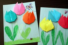 We made a little art project with some super-simple origami tulips. With only a few folds, this is a great origami project for anyone! Kids Crafts, Family Crafts, Craft Projects, Arts And Crafts, Paper Crafts, Paper Art, Craft Ideas, Foam Crafts, 3d Origami