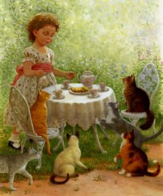 Sanderson, Ruth (b,1951)- Cat Tea Party -2b