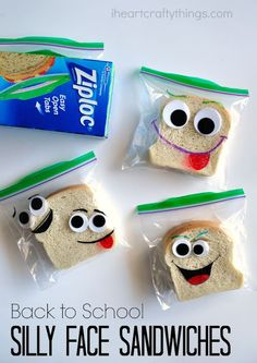 DIY Back-to-School Silly Face Sandwich Bags. Send your kids to school with a lunch that will make them smile by decorating sandwich bags with markers and googly eyes.
