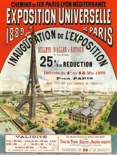 Eiffel Tower 1889 Paris World's Fair Advertising by FolieduJour, $14.00