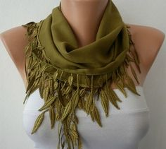 All the scarves in this shop are great. But I love leaves.    Olive Green Scarf   Pashmina Scarf   Headband Necklace by fatwoman, $13.50