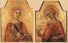 Simone. Martini, St Catherine and St LucyDatebetween 1320 and 1325Mediumtempera on woodDimensionsHeight: 54 cm (21.3 in). Width: 41 cm (16.1 in). and Height: 51 cm (20.1 in). Width: 40 cm (15.7 in).Current location  Villa I Tatti