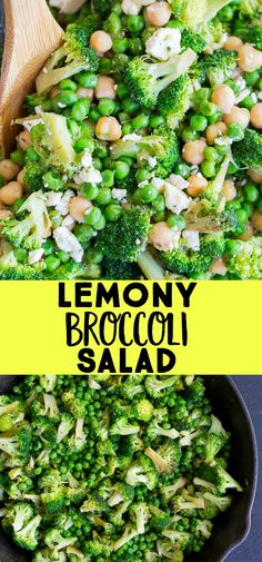 This Lemony Broccoli Salad with Chickpeas and Feta is so quick and easy to make!  It's really flavorful and delicious and perfect for a healthy side dish!  It's also great for bringing to a potluck or BBQ!  #broccolisalad #healthy #sidedish #vegetarian