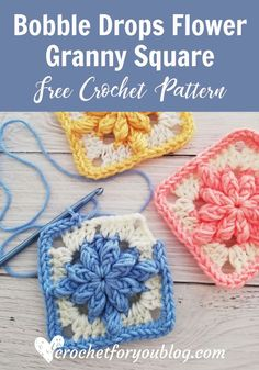 Crochet Bobble Drops Flower Granny Square Free Pattern - Crochet For You This granny square easy and fast to crochet with only 4 rounds. I used 2 contrasting colors to pop out the flower out from the background. Granny Square Pattern Free, Granny Square Häkelanleitung, Granny Square Crochet Pattern, Crochet Motif, Crochet Flowers, Crochet Stitches, Free Pattern, Free Crochet Square, Granny Square Tutorial