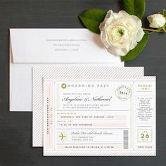 Vintage Boarding Pass Wedding Invitation designed by Jennie