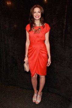 An adorable Mandy Moore at the Lela Rose Spring 2012 show
