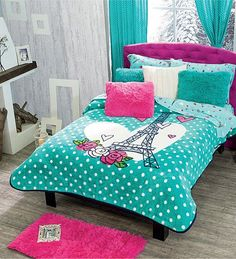 Turquoise Room Ideas - Turquoise it could be strong and also solid, it's additionally comforting and also relaxing.Here are of the most effective turquoise room interior design ideas. Paris Rooms, Paris Bedroom, Dream Bedroom, Kids Bedroom, Bedroom Decor, Bedroom Ideas, Turquoise Room, Teenage Girl Bedrooms, Awesome Bedrooms