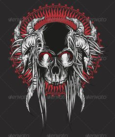 Skull with Horns black, bones, cranium, dead, death, emblem, gothic, head, heavy metal, icon, illustration, metal, pirate, red, rosace, scary, skull, spooky, tattoo, thrash, tribal, vector, Skull with Horns