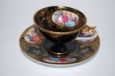 Lefton China Hand Painted Black with Gold Rim Victorian Pedestal Tea Cup and Saucer