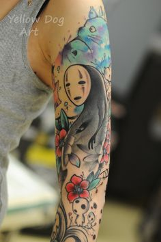 Tattoo based on Spirited Away, Studio Ghibli done by Anton Kovrigin from Yellow Dog Tattoo, Moscow. Russia