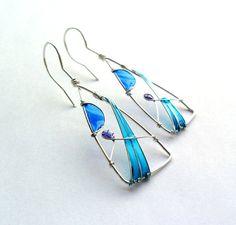 Triangle earrings ocean blue earrings by ThePurpleBalloon on Etsy, $22.00