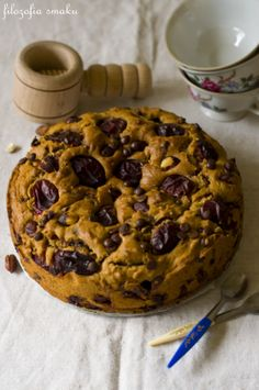 Plum, hazelnut & chocolate cake