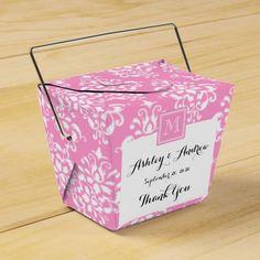 Pink Damask Pattern 1 with Monogram Favor Boxes