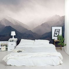 This #bedroom's wall mural is incredible! #LivingRoomIdeas #DesignInspiration #InteriorDesign