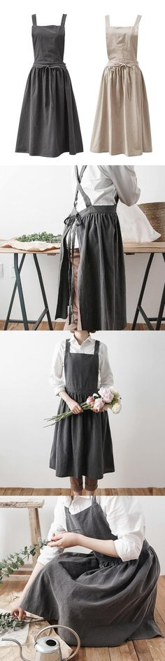 6e8adfdf2e Aprons 20657  Cotton Linen Sleeveless Women Bib Apron Pinafore Dress Home  Cooking Florist Cute -