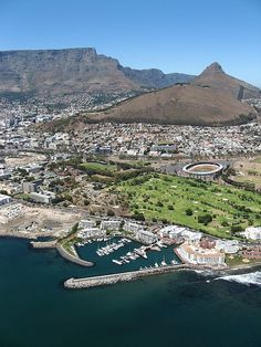 view of cape town: greenpoint stadium Aerial view of Cape Town, South Africa I love Cape Town and Table Mountain--so beautiful!Aerial view of Cape Town, South Africa I love Cape Town and Table Mountain--so beautiful! Paises Da Africa, Out Of Africa, Places To Travel, Places To See, Places Around The World, Around The Worlds, Le Cap, Cape Town South Africa, Table Mountain