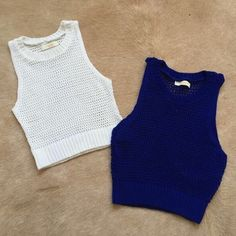 Blue knit crop top Like new. Purchase at local boutique Topshop Tops Crop Tops