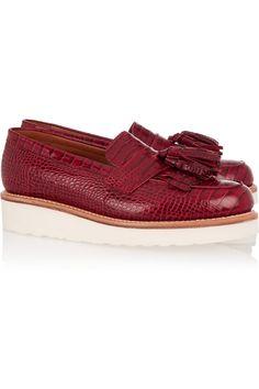 GrensonClara tasseled croc-effect leather loafersfront