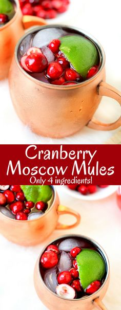 Cranberry Moscow Mules are the perfect festive cocktail! Cranberry Moscow Mules are the perfect festive cocktail! With only four ingredients, these are easy, delicious, and make everyone at your party happy! Festive Cocktails, Holiday Drinks, Summer Drinks, Cold Drinks, Christmas Cocktails, Christmas Brunch, Christmas Morning, Christmas 2017, Christmas Recipes