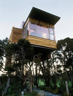 The Hapuku Lodge tree house is a fantastic example of a modern home in the least modern of locations!