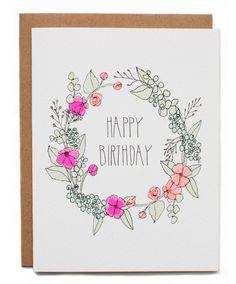 Happy Birthday Floral Wreath ~ Card