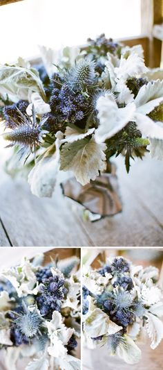 -1 bunch of blue thistle    - 1 bunch eryngium purple magic    - 1 bunch wide leaf dusty miller    - green floral tape    -floral shearers    -pearl head pins    - gray silk or ribbon http://sbchic.com/wp-content/uploads/2012/09/wedding-bouquet-with-thistle.jpg