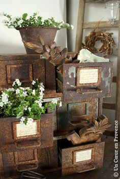 Rustic filing cabinet and planter.