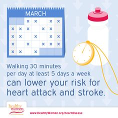 Walking 30 minutes per day at least 5 days a week can lower your risk for heart attack and stroke.