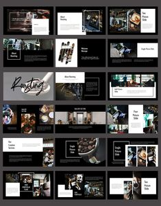 **Roasting - Creative Keynote Dark** **Roasting** is Innovative Promotion Corporate Professional Keynote Template and Cool Creative presentation design. Design Portfolio Layout, Page Layout Design, Portfolio Website Design, Book Layout, Keynote Design, Interior Design Presentation, Presentation Layout, Profolio Design, Web Design Company