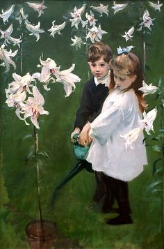 """John Singer Sargent (American, 1856–1925). Garden Study of the Vickers Children, 1884. Flint Institute of Arts   This work is in our """"Sargent: Portraits of Artists and Friends,"""" on view through October 4, 2015."""